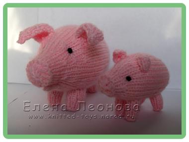 вязаная свинья вязаный поросенок в гостях у вязаной игрушки